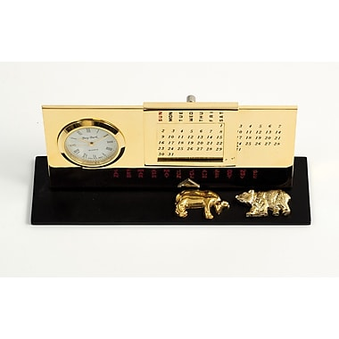 Bey-Berk Gold Plated  Black Base Perpetual Calendar and Clock, Stock Market