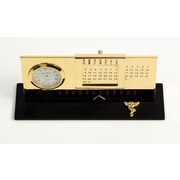 Bey-Berk Gold Plated  Black Base Perpetual Calendar and Clock, Chiropractor