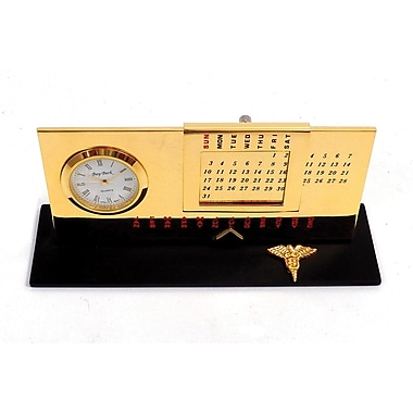 Bey-Berk Gold Plated  Black Base Perpetual Calendar and Clock, Dental