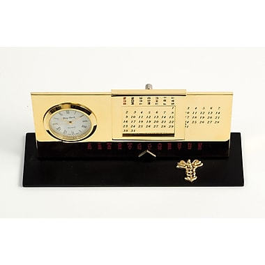 Bey-Berk Gold Plated Black Base Perpetual Calendar and Clock, Medical