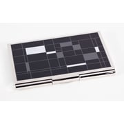 Bey-Berk Nickel Plated  Business Card Case With Black Cube Design