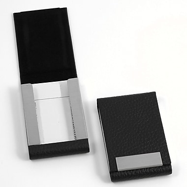 Bey-Berk Leather Business Card Case With Flip Top and Magnetic Closure, Black