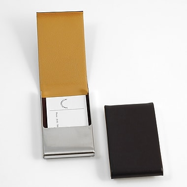 Bey-Berk D258 Leather Business Card Case With Flip Top and Magnetic Closure, Brown