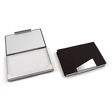 Bey-Berk Leather Business Card Case With Aluminum Trim, Black