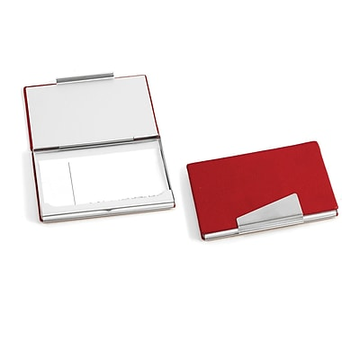 Bey-Berk Leather Business Card Case With Aluminum Trim, Red