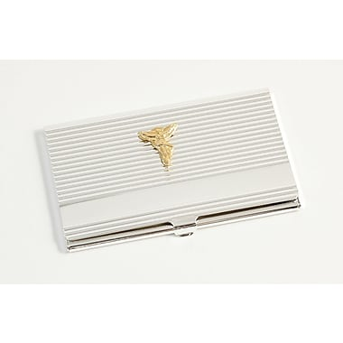 Bey-Berk D261 Silver Plated Business Card Cases With Gold Plated Accents
