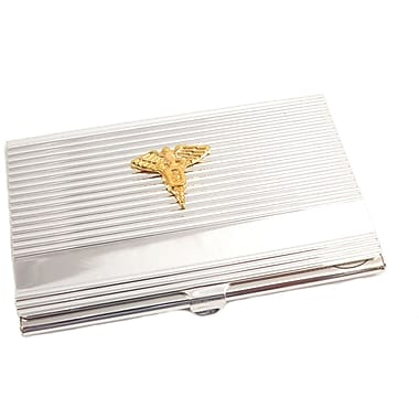 Bey-Berk Silver Plated  Business Card Case With Gold Plated Accents, Dental
