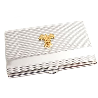 Bey-Berk Silver Plated  Business Card Case With Gold Plated Accents, Medical
