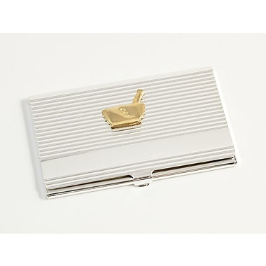 Bey-Berk Silver Plated  Business Card Case With Gold Plated Accents, Pharmacy