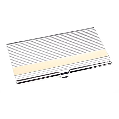 Bey-Berk Silver Plated  Business Card Case With Lined Design and Gold Trim