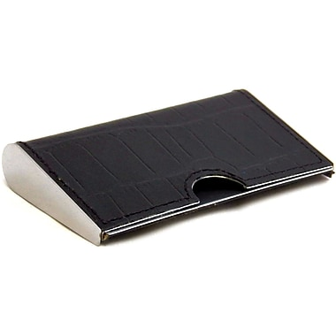 Bey-Berk Croco Leather  Business Card Case With Spring Loaded Opening, Black