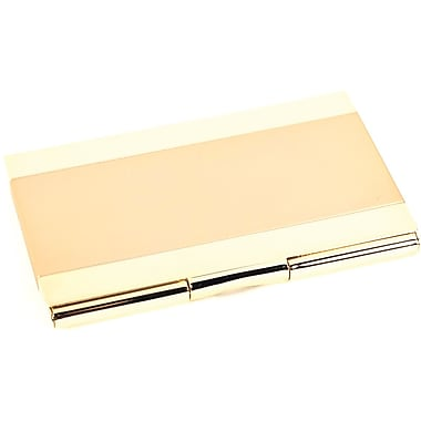 Bey-Berk Gold Plated Business Card Case With Satin Trim