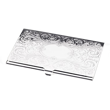 Bey-Berk Silver Plated  Business Card Case With Filigree and Oval Design