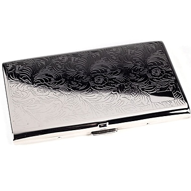 Bey-Berk Silver Plated  Business Card Case With Filigree Design