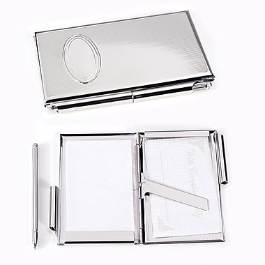 Bey-Berk Silver Plated  Business Card Case and Note Holder With Pen