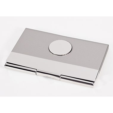Bey-Berk Nickel Plated Business Card Case With Round Medallion and Satin and Shiny Finish
