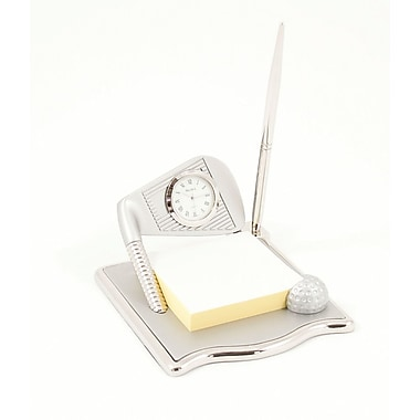 Bey-Berk Shiny and  Satin Silver Plated Post-It Note Holder With Quartz Clock and Pen, Golf