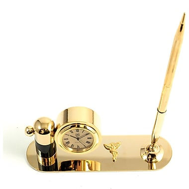 Bey-Berk Gold Plated  and Malachite Pen Stand With Pen and Clock, Chiropractor