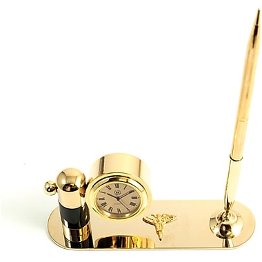 Bey-Berk Gold Plated  and Malachite Pen Stand With Pen and Clock, Dental