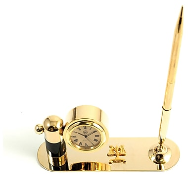 Bey-Berk Gold Plated  and Malachite Pen Stand With Pen and Clock, Legal