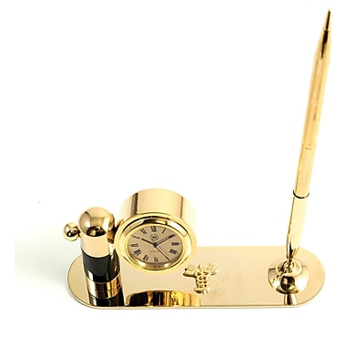 Bey-Berk Gold Plated  and Malachite Pen Stand With Pen and Clock, Medical
