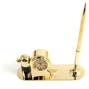 Bey-Berk Gold Plated  and Malachite Pen Stand With Pen and Clock, Nursing