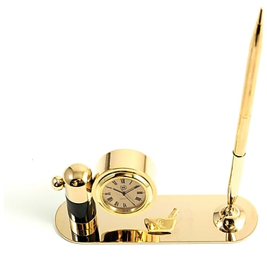 Bey-Berk Gold Plated  and Malachite Pen Stand With Pen and Clock, Pharmacy