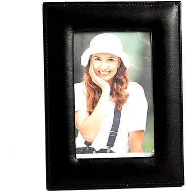 Bey-Berk D419 Black Leather Picture Frame With Easel Back, 4in. x 6in.