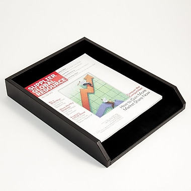 Bey-Berk Letter Tray, Black Leather 10 1/2
