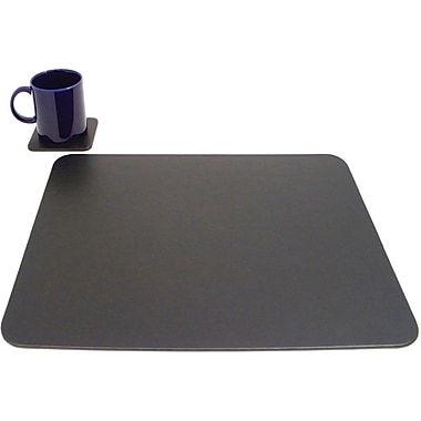 Bey-Berk Conference Table  Pad With Single Coaster, Black, 17in.(L) x 14in.(W)