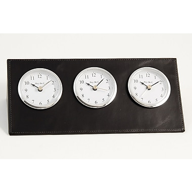 Bey-Berk D437 Leather Analog Triple Time Zone Table Clock, Black
