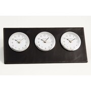 Bey-Berk Leather Analog Triple Time Zone Table Clock, Black