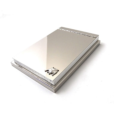 Bey-Berk 4in. x  6in. Silver Plated Memo Pad Holder With Hinged Cover and Bull