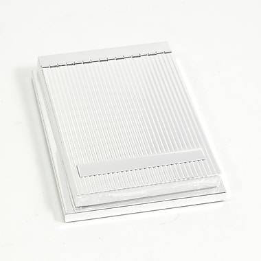 Bey-Berk 4in. x  6in. Silver Plated Memo Pad Holder With Ridged Cover Design