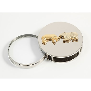 Bey-Berk Chrome Plated  Magnifying Glass Paperweight, Stock Market