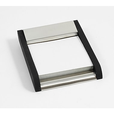 Bey-Berk Brushed Stainless  Steel Sticky Post-It Note Holder With Black Anodized Accents