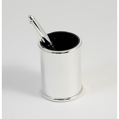 Bey-Berk Silver Plated Pen Cup With Black ABS Plastic Lining
