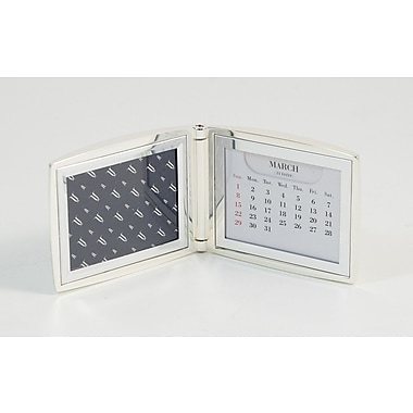 Bey-Berk Silver Plated  Perpetual Calendar and Picture Frame With Sold Back, 2in. x 3in.