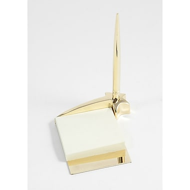 Bey-Berk Gold Plated  Sticky Star Post-It Note Holder With Pen