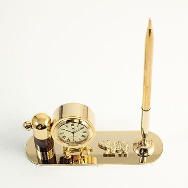 Bey-Berk Gold Plated  and Tortoise Pen Stand With Pen and Clock, Stock Market