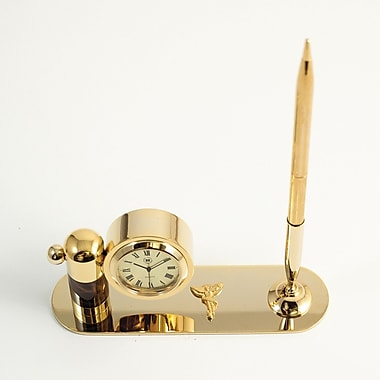 Bey-Berk Gold Plated  and Tortoise Pen Stand With Pen and Clock, Chiropractor