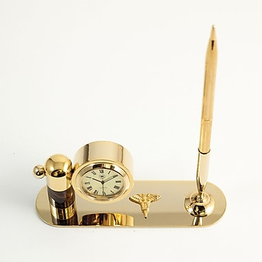 Bey-Berk Gold Plated  and Tortoise Pen Stand With Pen and Clock, Dental