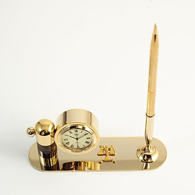 Bey-Berk Gold Plated  and Tortoise Pen Stand With Pen and Clock, Legal