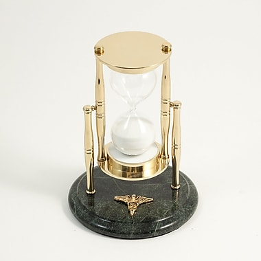 Bey-Berk 30 Minute  Brass and Green Marble Sand Timer, Dental