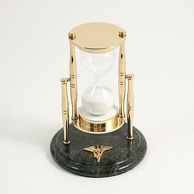 Bey-Berk 30 Minute  Brass and Green Marble Sand Timer, Nursing