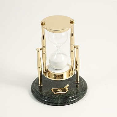 Bey-Berk 30 Minute  Brass and Green Marble Sand Timer, Pharma