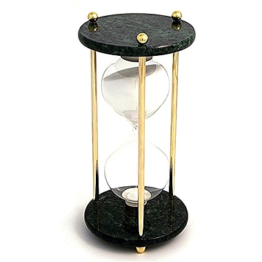 Bey-Berk 60 Minute  Brass and Green Marble Sand Timer