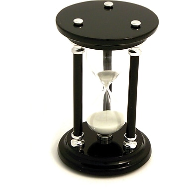 Bey-Berk 15 Minute Chrome and Lacquered Black Wood Sand Timer