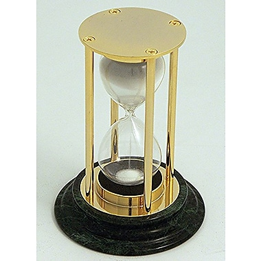 Bey-Berk 15 Minute  Brass and Green Marble Sand Timer