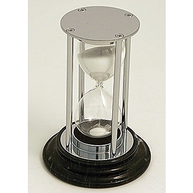 Bey-Berk 15 Minute Chrome and Black Marble Base Sand Timer
